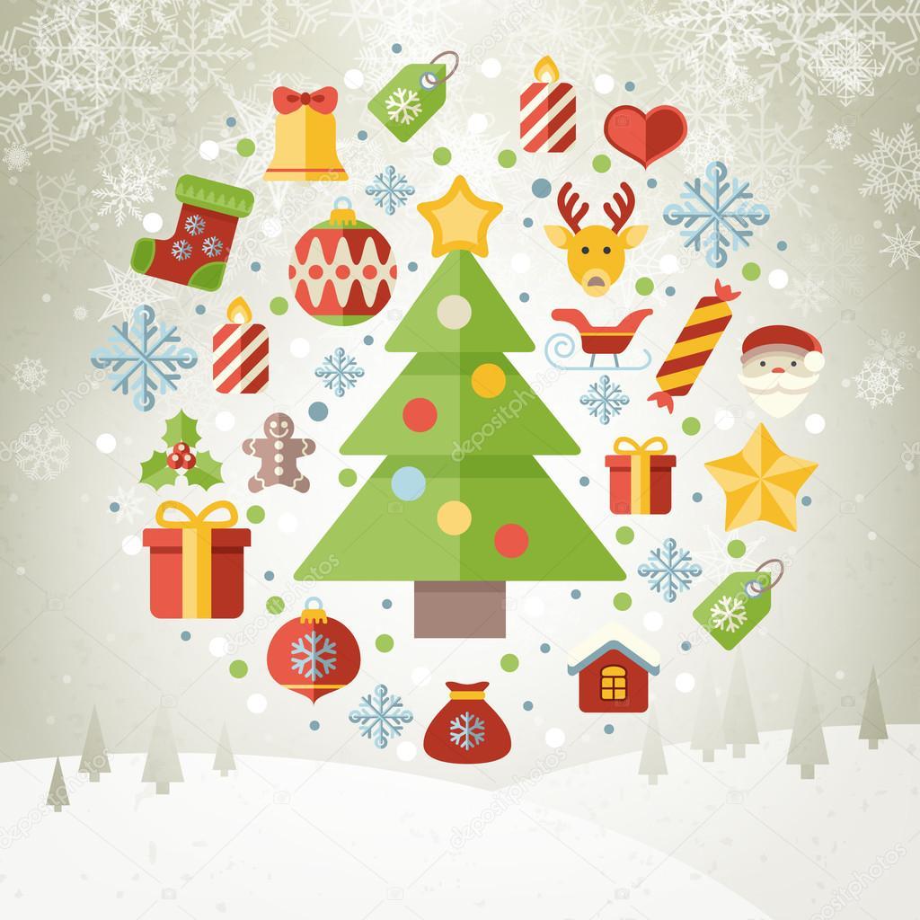 Vintage Navidad Tarjeta De Felicitacion Los Iconos Y Simbolos - Vintage-navidad