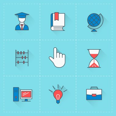 Education icons. Vector icon set in flat design style. For web site design and mobile apps