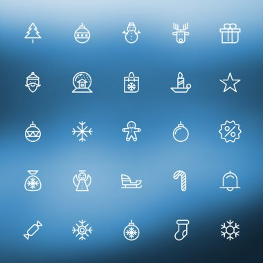 Thin line Christmas icons set for web and mobile apps. White icons on the blurred blue  background. Christmas tree, gift, santa, snowman, sale, snowflake