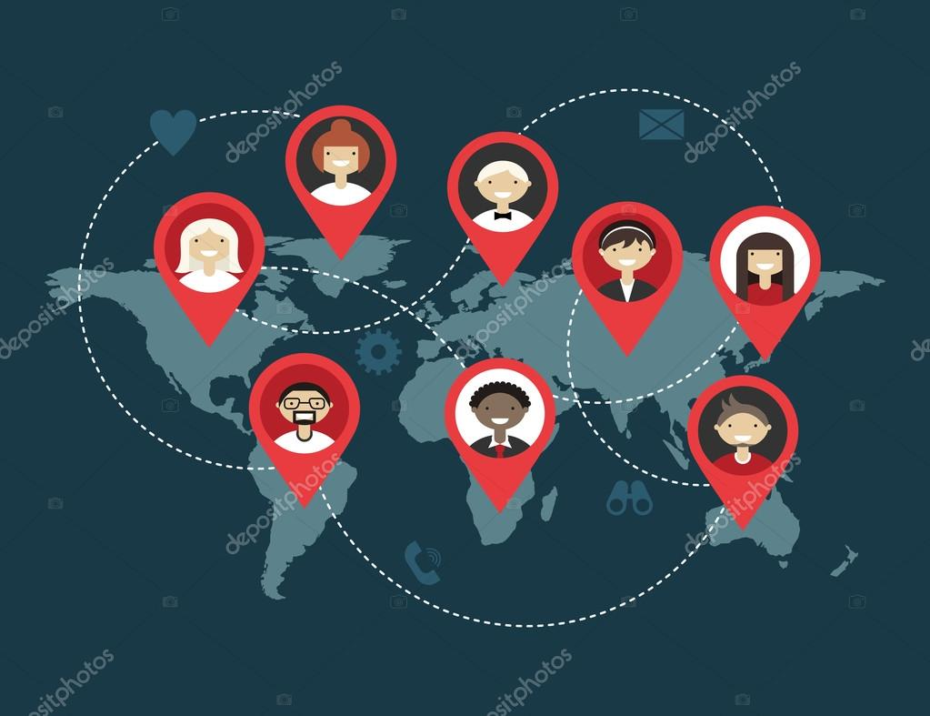 Flat social media and network concept. Business background, global communication, connection between people