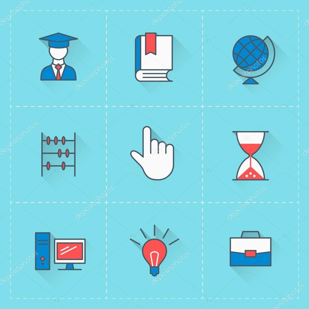 Icone di formazione icona di vettore impostato nello for Siti mobili design