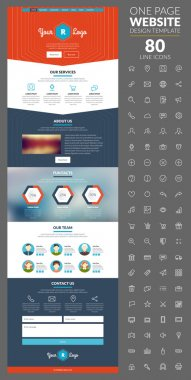 One page website template with icon set