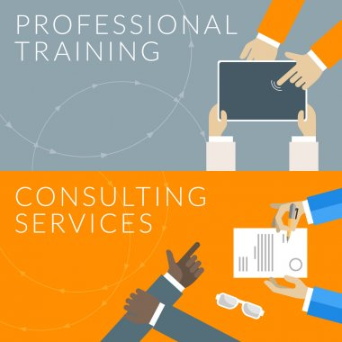 Flat design concept for professional training and consulting services. Vector illustration for web banners and promotional materials