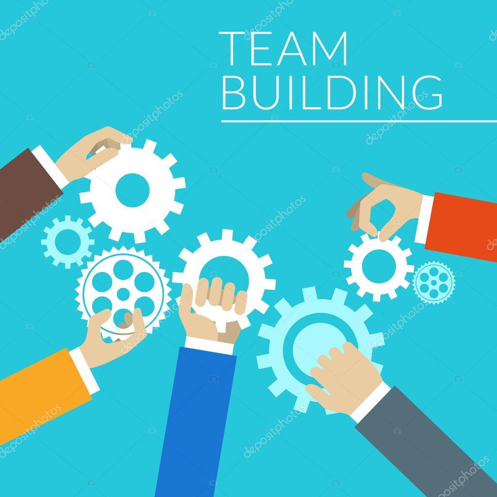 Flat Design Concept For Team Building Hands With Gears Stock Vector Antartstock 60077895