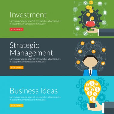 Flat design concept for investment, strategic management and business ideas. Vector illustration for web banners and promotional materials