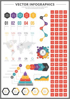 Big pack of data visualization vector infographics and design elements with business bar, charts, graph, diagrams and icon set for brochures, flyers and websites
