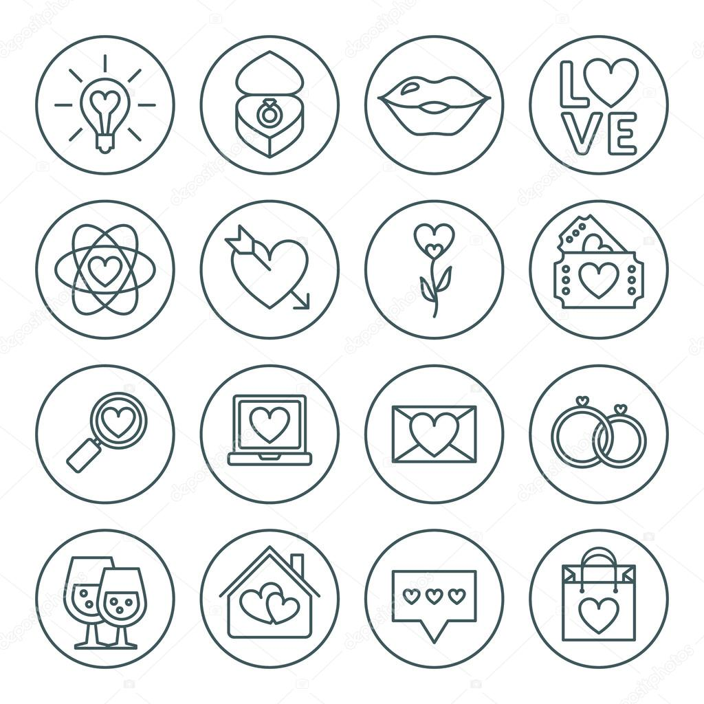 st valentine s day line icon set love wedding or dating romantic