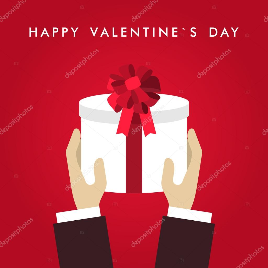 Vector St. Valentine's day greeting card in flat style. Male hands holding white giftbox with red ribbon