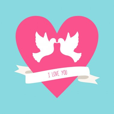 Vector St. Valentine's day greeting card in flat style. Two pigeons and pink heart with ribbon