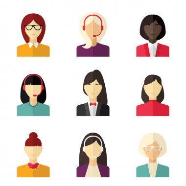Vector flat icon set. Different people character, female, girl, business woman, technical support