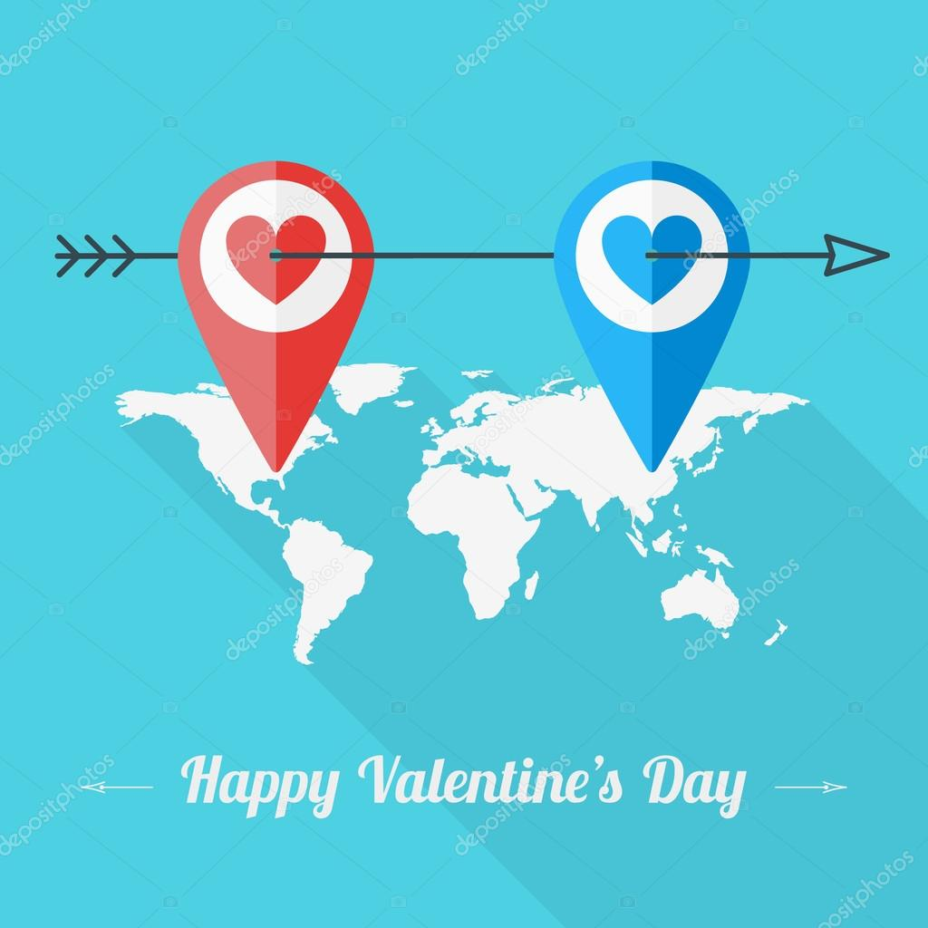 Vector st valentines day greeting card in flat style two heart vector st valentines day greeting card in flat style two heart icon on the world map vector by antartstock kristyandbryce Gallery