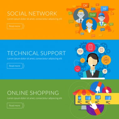 Flat design concept for technical support, social network, online shopping. Vector illustration for web banners and promotional materials