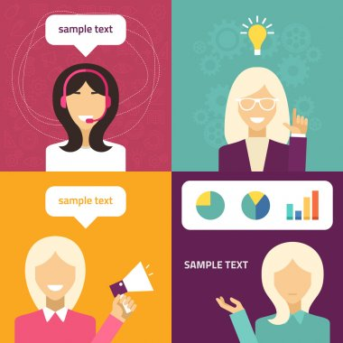 Vector flat icon and illustration set. Different people character - female, technical support, creative idea, presentation, promotion