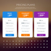 Vektor cenové tabulky stylově plochý design pro webové stránky a aplikace