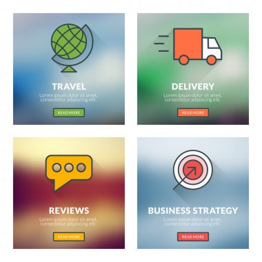 Set of flat design concepts. Travel, delivery, reviews, business strategy. Vector illustration with blurred background