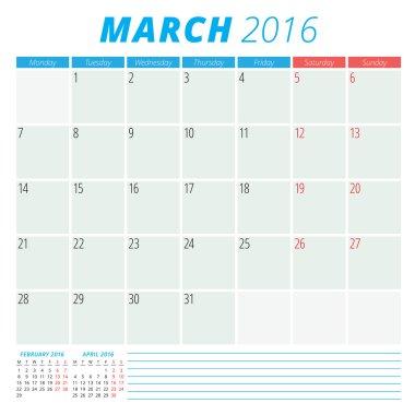 Calendar 2016 vector flat design template. March. Week starts Monday