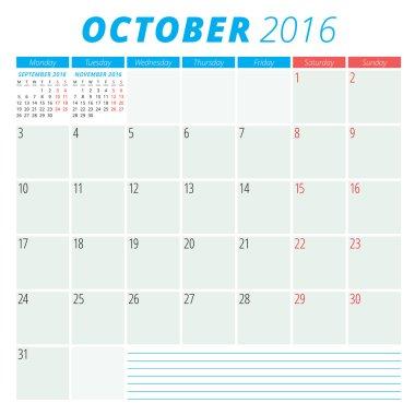 Calendar 2016 vector flat design template. October. Week starts Monday