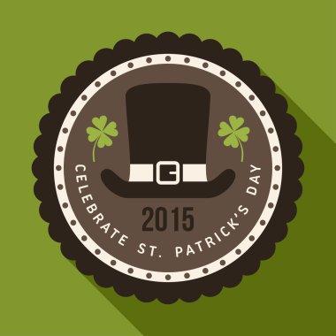 St. Patricks Day card design. Vintage holiday badge design