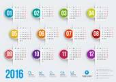 Šablona návrhu vektorové kalendář 2016