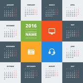 Šablona decign kalendář 2016 vektor. Týden začíná v pondělí