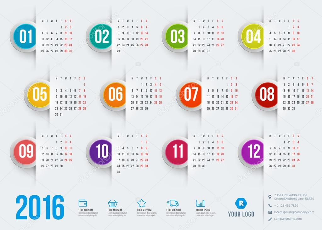 Illustration Calendar Design : Calendar vector design template — stock
