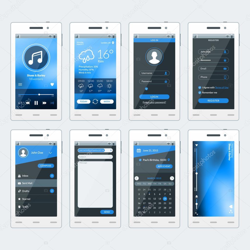 Satz von Vektor-Illustrationen von modernes Smartphone mit apps ...