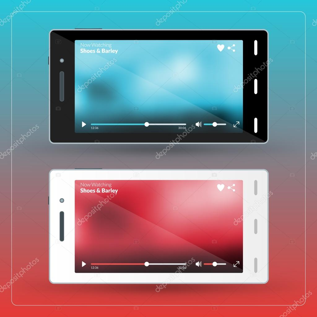 Modern smartphone with video player on the screen  Flat design