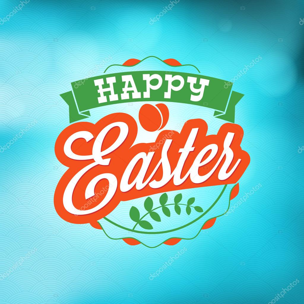 Happy Easter Day Vintage Holiday Badge Design Vector Design