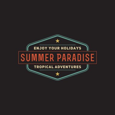 Retro summer vintage label on dark background. Tropical paradise, beach vacation, adventure and travel