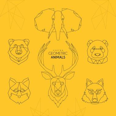 Set of Minimalistic Geometric Animal Vector Illustrations