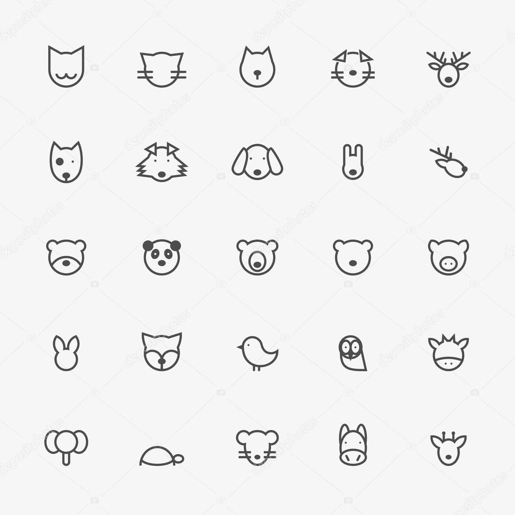 Set of Minimalistic Animal Line Icons. Vector Illustration