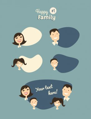 Happy Family. Father, Mother, Son and Daughter with Speech Bubbles