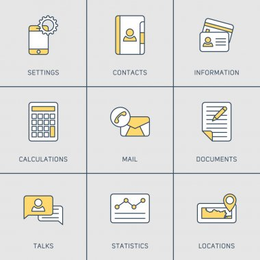 Set of Modern Vector Thin Line Icons. Settings, Contacts, Mail, Locations, Talks, Documents
