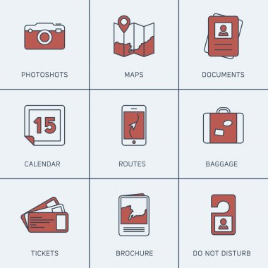 Set of Modern Vector Thin Line Icons. Photoshots, Maps, Calendar, Tickets, Baggage, Routes