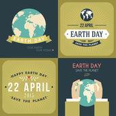 Fényképek Vintage föld nap ünneplése kártya vagy poszter Design