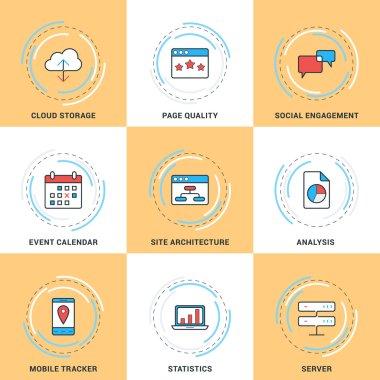Modern Vector Line Icons Set. Cloud Storage, Social Engagement, Calendar, Server, Statistics, Site Architecture