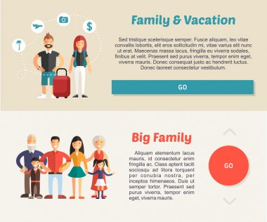 Family Vocation and Big Family. Flat Design Illustration Concept for Web Banners