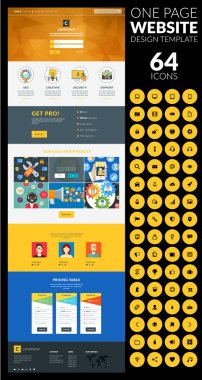One page website vector template in flat style with icon set