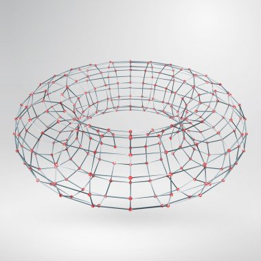 Wireframe polygonal element. 3D Torus with Diamonds