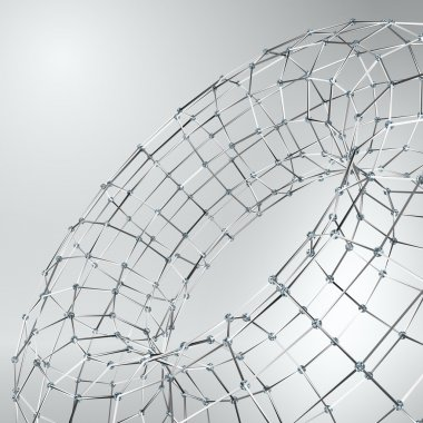 Wireframe polygonal element. 3D Torus with Diamonds