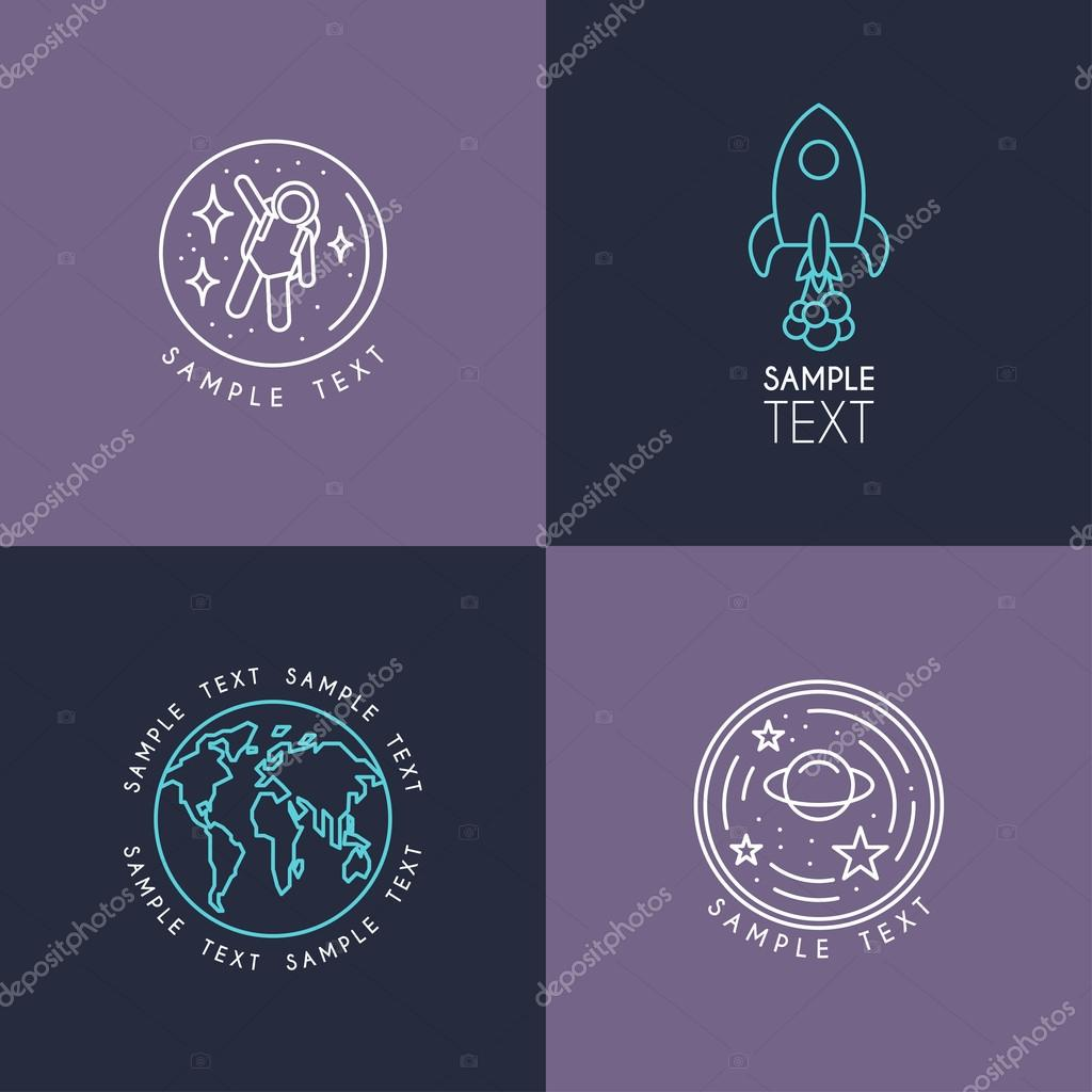 Line Art Badge or Logo Template. Space and Earth. Thin Line Graphic Design