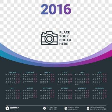 Calendar 2016 Vector Design Template