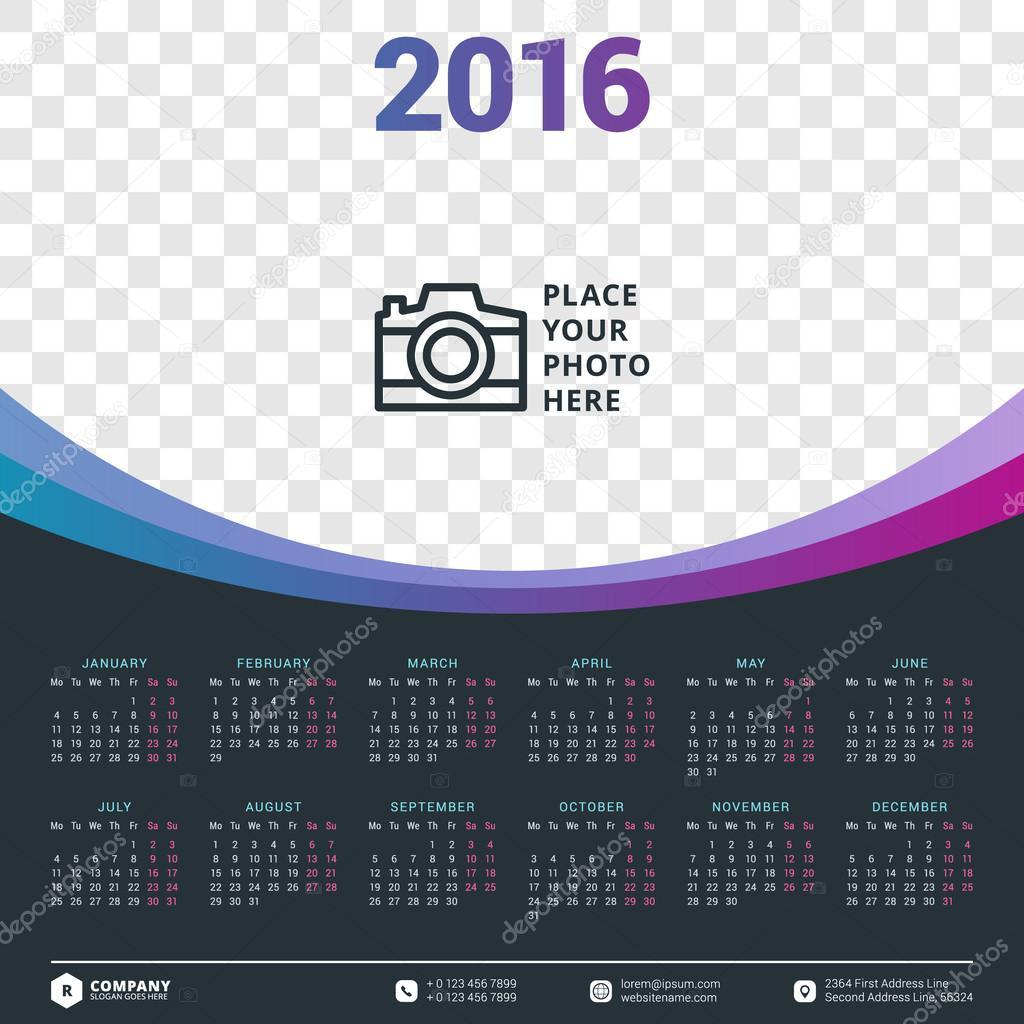 Calendar Typography Vector : Takvim vektör tasarım şablonu — stok