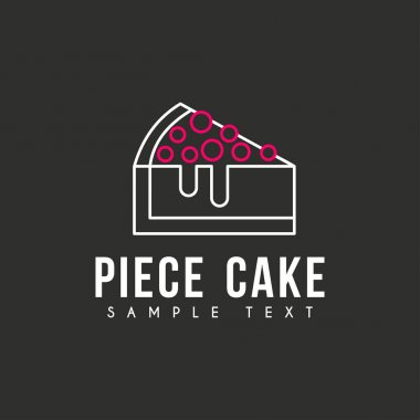 Line Art Logo Template with Peace of Cake. Thin Line Graphic Design