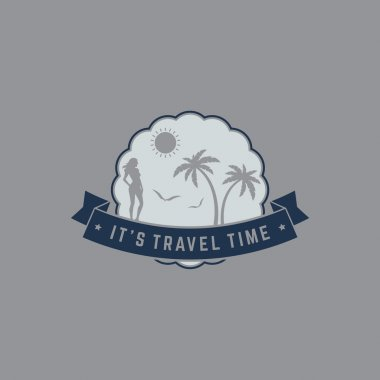 Retro summer vintage label on gray background. Tropical paradise, beach vacation, adventure and travel