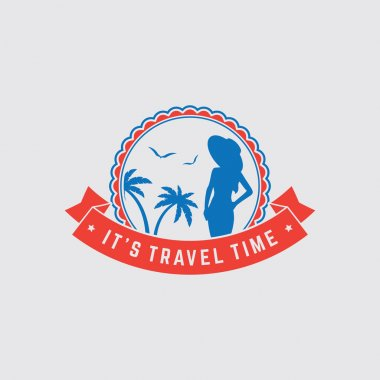 Retro summer vintage label on colorful background. Tropical paradise, beach vacation, adventure and travel