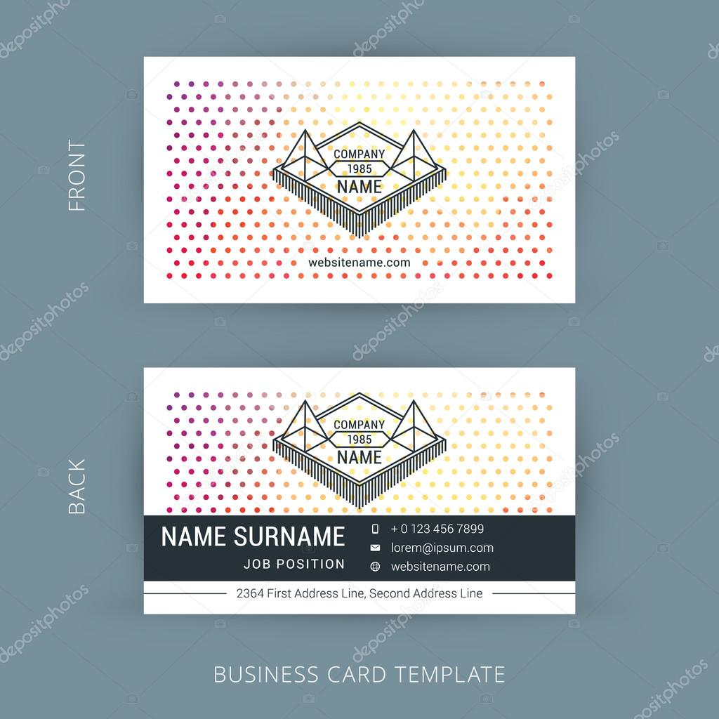 Vector Creative Business Card Template with Line Art Hipster Logo ...