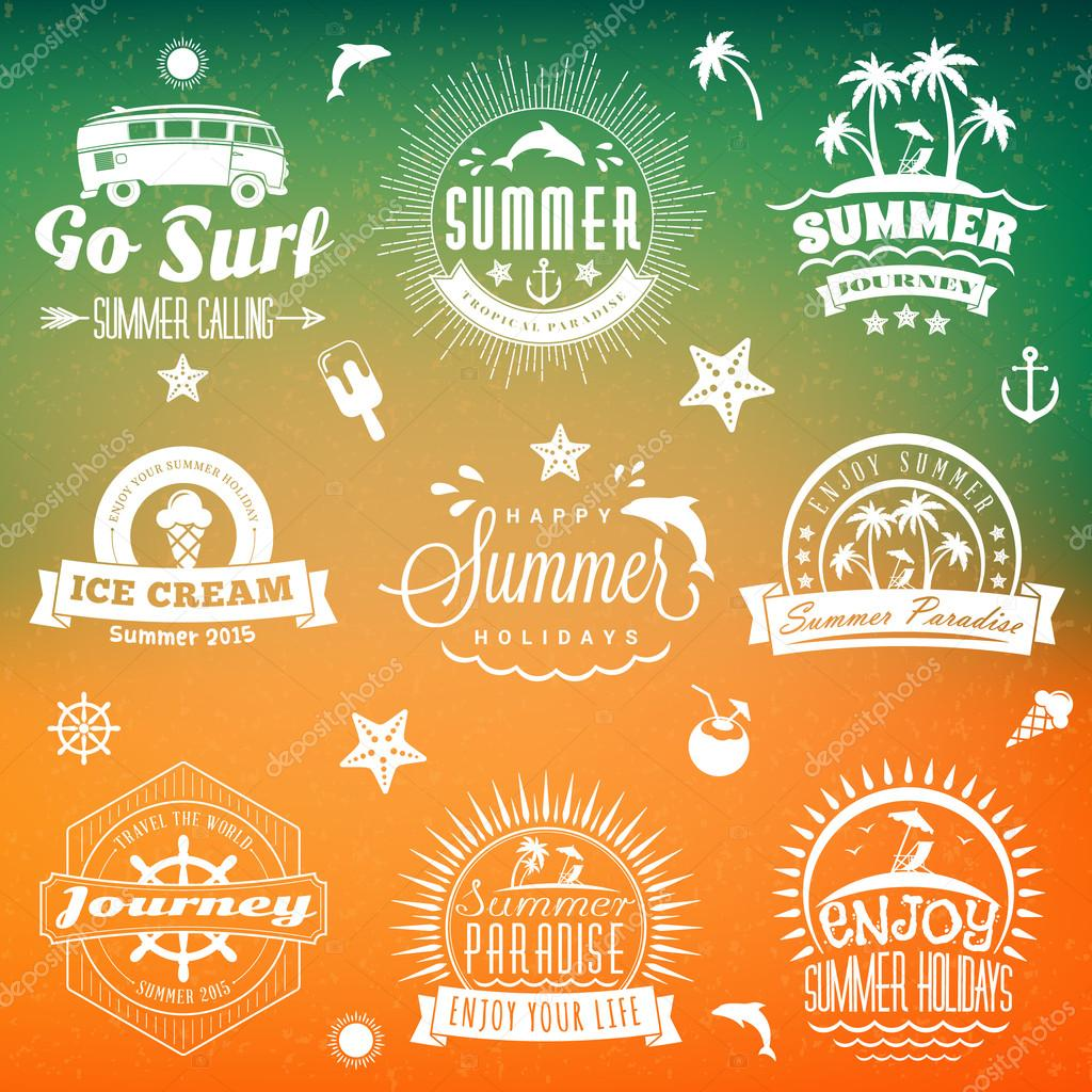 set of retro summer holidays vintage labels or badges vector design elements stock vector
