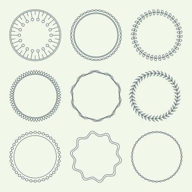 Set of Minimal Round Vintage Frames. Vector Illustration