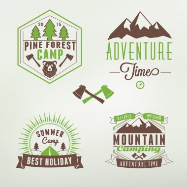 Set of Retro Vintage Summer Camping Badges. Mountine Adventures and Outdoor Activities